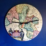 Clock customizable with antique map